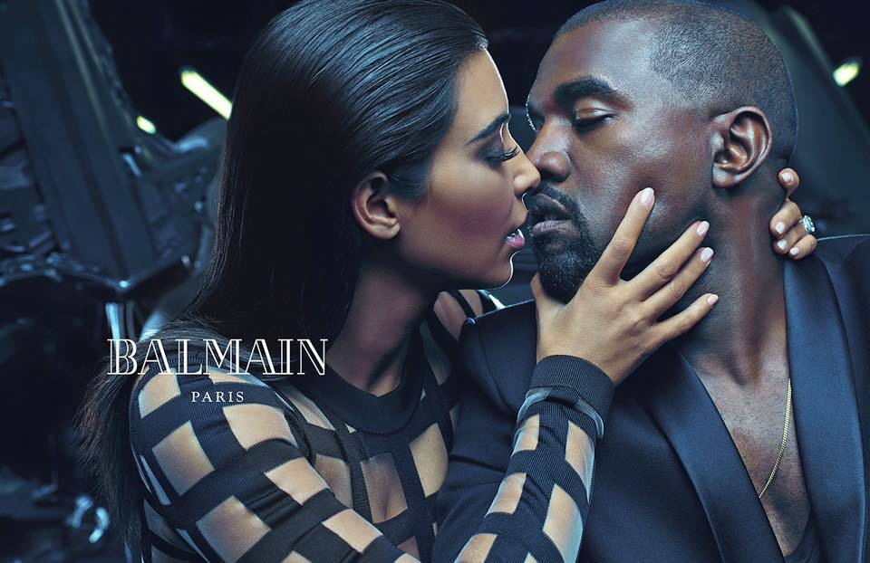 Ким Кардашьян и Канье Уэст в рекламе Balmain фотосьемка, фото